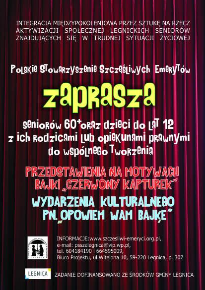 Polskie Stowarzyszenie Szczęśliwych Emerytów w Legnicy - plakat Opowiemy wam bajkę